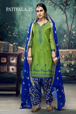 Light-green embroidered satin unstitched salwar with dupatta
