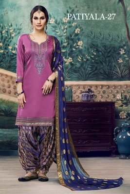 Light-purple embroidered satin unstitched salwar with dupatta