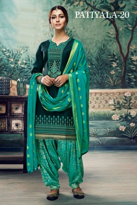 Sea-green embroidered satin unstitched salwar with dupatta