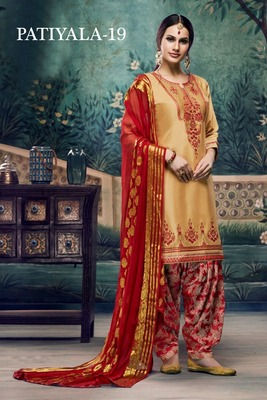 Yellow embroidered satin unstitched salwar with dupatta