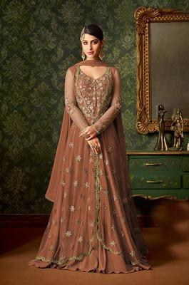 Brown embroidered net salwar