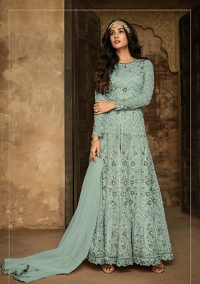 Aqua-blue embroidered net salwar