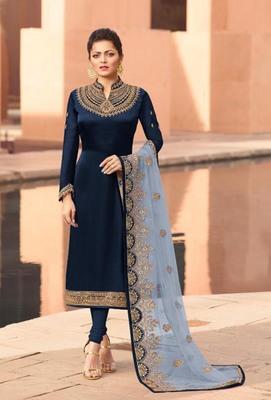 Blue embroidered satin semi stitched salwar with dupatta