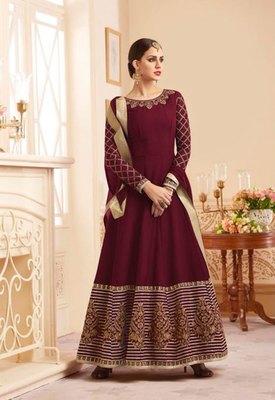 Maroon embroidered silk salwar
