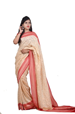 Off white hand woven pure chiffon saree with blouse