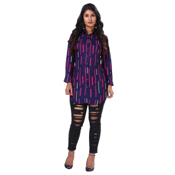 Women's Purple Geometric Print Shirt Style Kurta