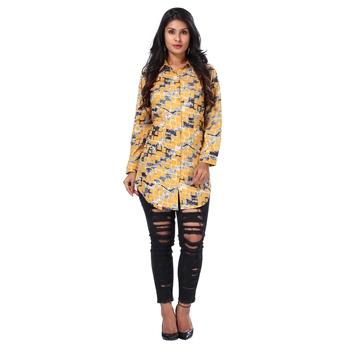 Women's Yellow Geometric Print Shirt Style Kurta