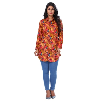Women's Orange Fancy Print Shirt Style Kurta