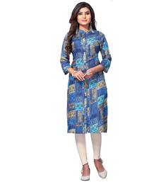 Women's Blue Closed Neck Printed Kurti