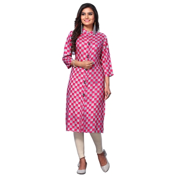 Women's Pink Closed Neck Printed Kurti