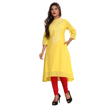 Women's Yellow A-Line Embroidered Kurti