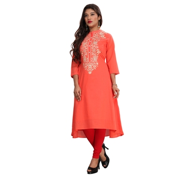 Women's Peach A-Line Embroidered Kurti