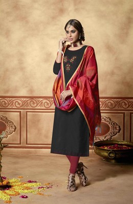Black resham embroidery cotton salwar