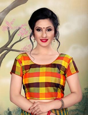 Orange Women's Silk With Round Neck Blouse