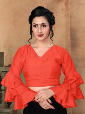 Orange Women'S Silk With V Neck Blouse