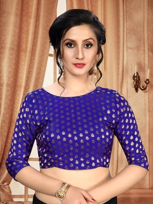 Blue Women's Jacquard With Round Neck Blouse