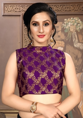 Purple Women'S Brocade With Collar Neck Blouse