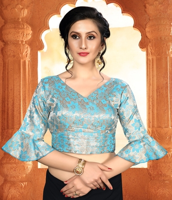 Blue Women'S Brocade With V Neck Blouse