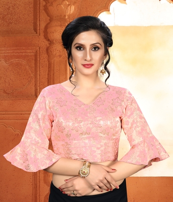 Pink Women'S Brocade With V Neck Blouse