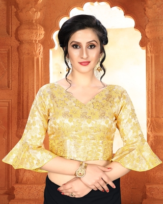 Yellow Women's Brocade With V Neck Blouse
