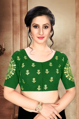 Green Women'S Phantom With Round Neck Blouse