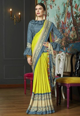 olive linen checks Saree with blouse
