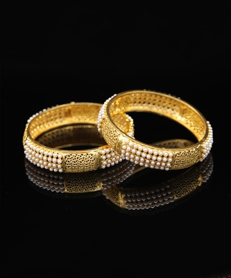 Pearl Golden Traditional Bangles Set Of 2