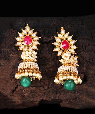 Ruby Stone Studded Jhumkas