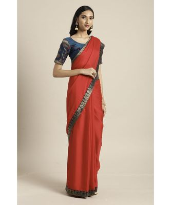 Red Woven Silk blend saree with blouse