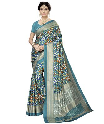 turquoise woven Silk blend saree with blouse