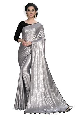 Silver plain silk blend saree with blouse