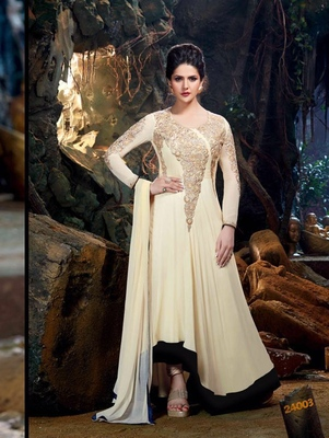 Cream and Dull Gold Semi Georgette Party Wear Designer Suit