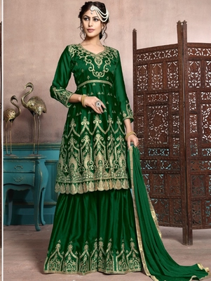 Green Satin Georgette Designer Sharara Suit