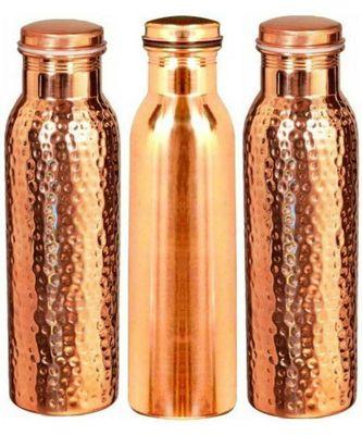 copper 1 plain bottle 2 hammered bottle set of 3 piece