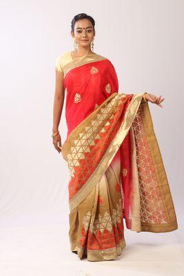 Pink embroidered bhagalpuri silk saree with blouse
