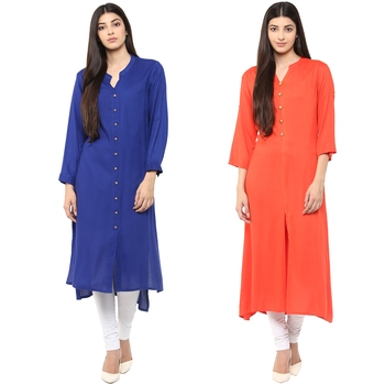 rayon blue orange straight combo kurti