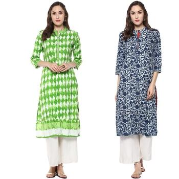 cotton rayon blue green combo designer kurtis