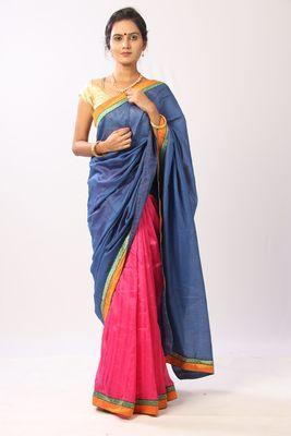 Multicolor art silk plain saree with blouse