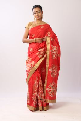 Red tussar silk embroidered saree with blouse