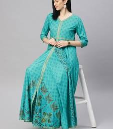 Turquoise printed viscose rayon ethnic-kurtis