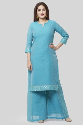 Sky-blue plain cotton long-kurtis