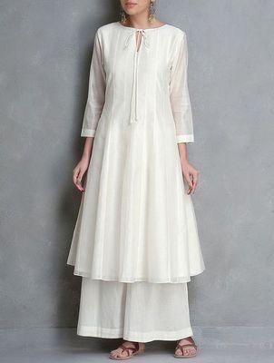 White plain silk long-kurtis