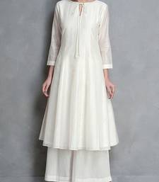 White plain silk long-kurtis