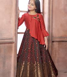 maroon embroidered jaquard stitched girls gown