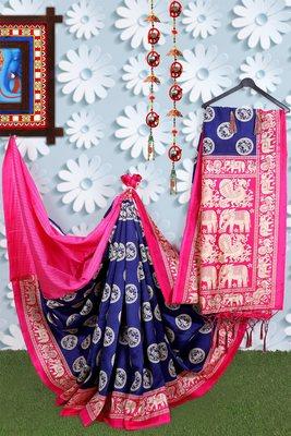 Navy Blue Banarasi Art Silk Saree With Blouse