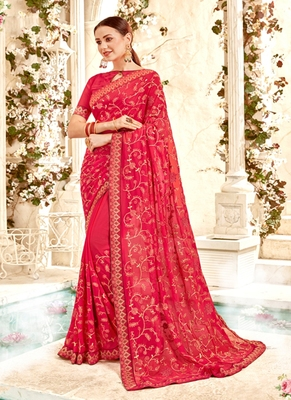 Salmon Embroidered Georgette Saree With Blouse