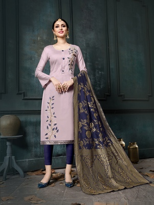 Light-purple embroidered cotton salwar