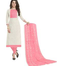 White & Baby Pink Cotton Jacquard Embroidered Dress Material With Mirror Work & Embroidered Dupatta