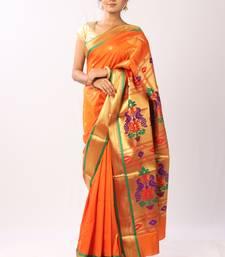 Orange Hand Woven Silk Blend Saree With Blouse