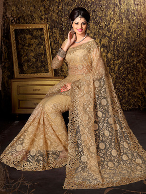 45ee541fc5 Golden embroidered net saree with blouse - Shonaya - 404073
